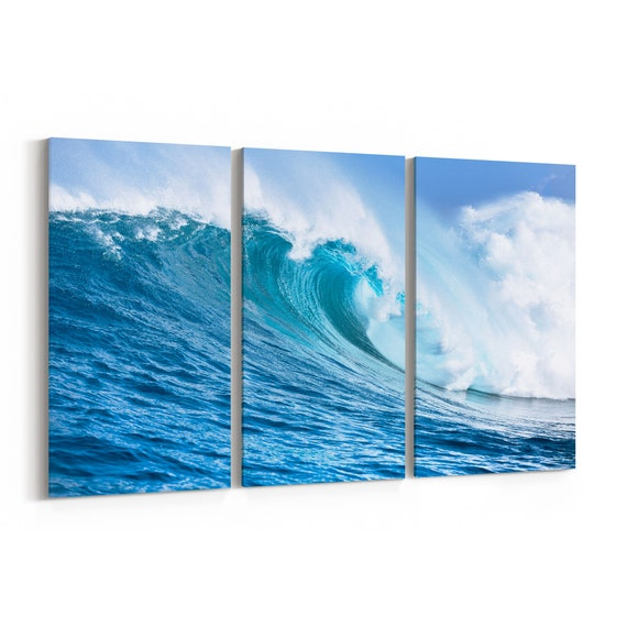 Ocean Wave Canvas Art Ocean Wave Wall Art Canvas Multiple Sizes Wrapped Canvas on Wooden Frame