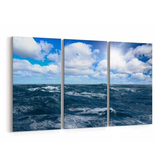 Storm Sea Canvas Print Storm Sea Canvas Art Multiple Sizes Wrapped Canvas on Wooden Frame