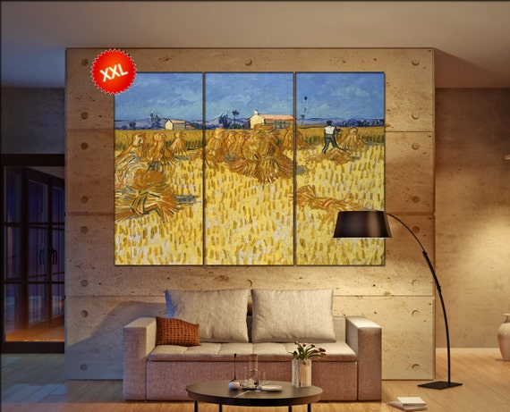van gogh corn harvest  print canvas wall art Large van gogh corn harvest art artwork large art office decoration