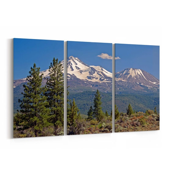 Mount Shasta Canvas Print Mount Shasta Wall Art Canvas Cascade Mountains California Multiple Sizes Wrapped Canvas on Wooden Frame