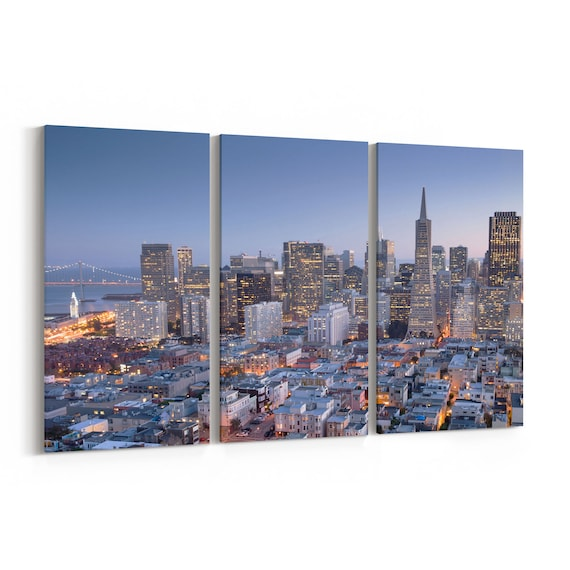 San Francisco Skyline Wall Art San Francisco Canvas Print Multiple Sizes Wrapped Canvas on Wooden Frame