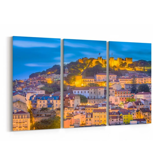 Lisbon Skyline Wall Art Lisbon Canvas Print Portugal Multiple Sizes Wrapped Canvas on Wooden Frame