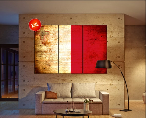 Malta flag canvas wall art art print large  canvas wall art print Malta flag country flag Wall Home office decor interior Office Decor