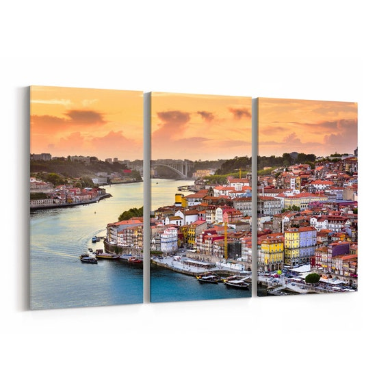 Porto Skyline Wall Art Porto Canvas Print Portugal Multiple Sizes Wrapped Canvas on Wooden Frame