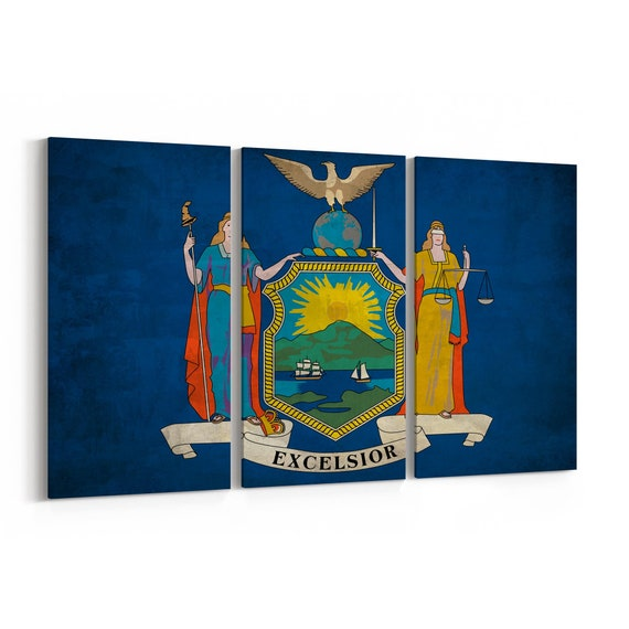 New York State Flag Canvas Print New York State Flag Wall Art Canvas Multiple Sizes Wrapped Canvas on Wooden Frame