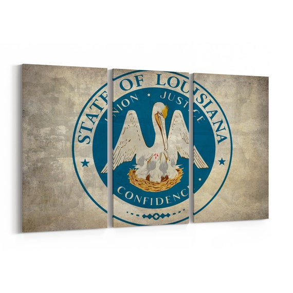 Louisiana State Seal Wall Art Canvas Louisiana State Seal Canvas Print Multiple Sizes Wrapped Canvas on Wooden Frame