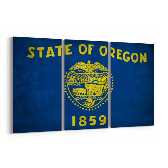 Oregon State Flag Canvas Print Oregon State Flag Wall Art Canvas Multiple Sizes Wrapped Canvas on Wooden Frame