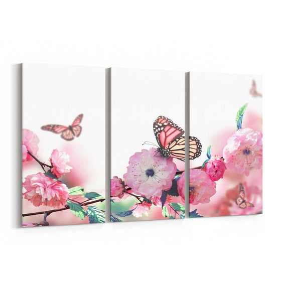 Butterflies Canvas Print Butterflies Wall Art Canvas Multiple Sizes Wrapped Canvas on Wooden Frame