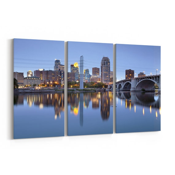 Minneapolis Skyline Canvas Minneapolis Canvas Wall Art Minnesota Multiple Sizes Wrapped Canvas on Wooden Frame
