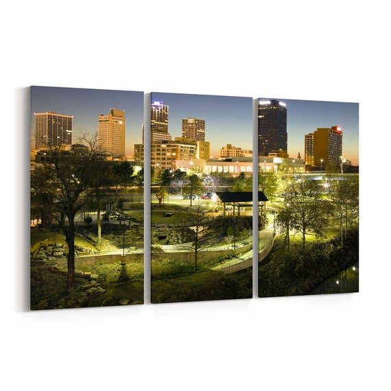 Akron Skyline Wall Art Akron Canvas Print Ohio Multiple Sizes Wrapped Canvas on Wooden Frame