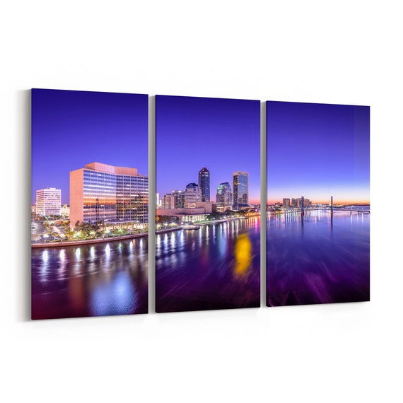 Jacksonville Skyline Wall Art Canvas Jacksonville Canvas Print Florida Multiple Sizes Wrapped Canvas on Wooden Frame
