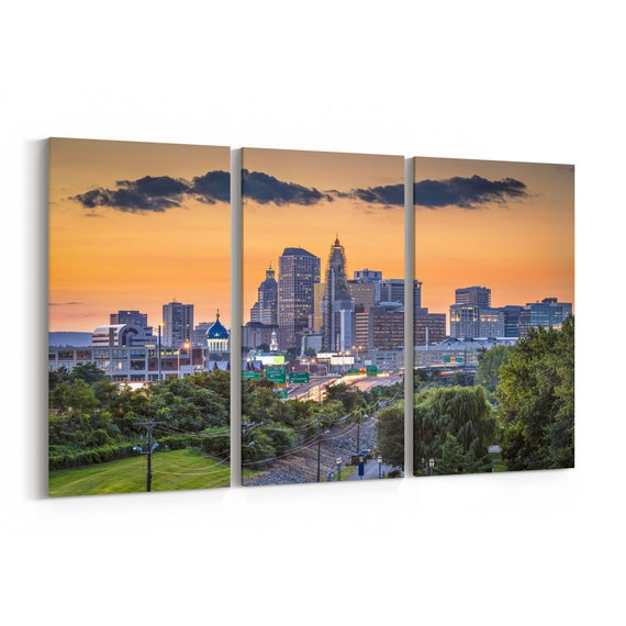 Hartford Skyline Canvas Hartford Canvas Print Connecticut Multiple Sizes Wrapped Canvas on Wooden Frame