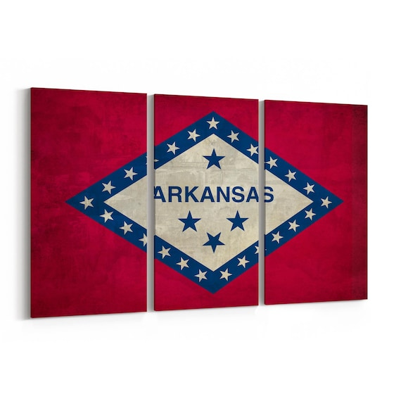 Arkansas State Flag Canvas Print Arkansas State Flag Wall Art Canvas Multiple Sizes Wrapped Canvas on Wooden Frame