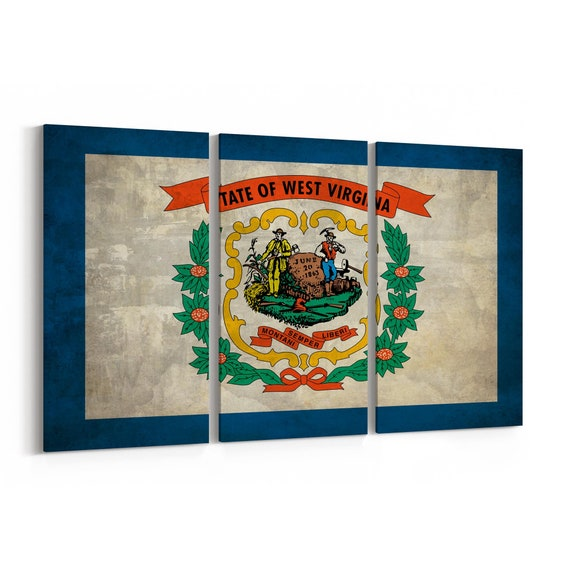 West Virginia State Flag Canvas Print West Virginia State Flag Wall Art Canvas Multiple Sizes Wrapped Canvas on Wooden Frame