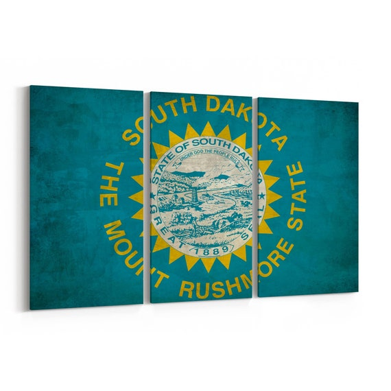 South Dakota State Flag Canvas Print South Dakota State Flag Wall Art Canvas Multiple Sizes Wrapped Canvas on Wooden Frame