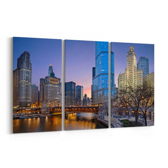 Chicago Skyline Wall Art Chicago Canvas Multiple Sizes Wrapped Canvas on Wooden Frame