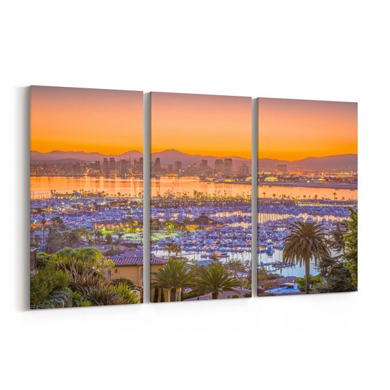 San Diego Skyline Wall Art San Diego Canvas Print California Multiple Sizes Wrapped Canvas on Wooden Frame