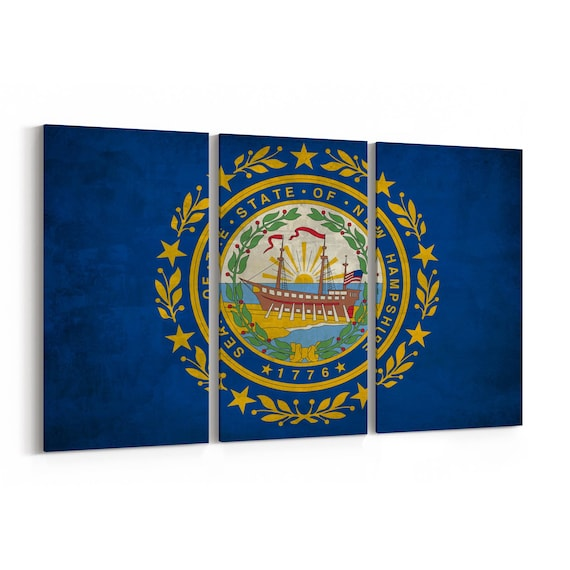 New Hampshire State Flag Canvas Print New Hampshire State Flag Wall Art Canvas Multiple Sizes Wrapped Canvas on Wooden Frame