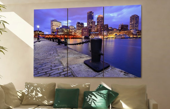 Boston Skyline canvas  skyline Boston Skyline  canvas art Boston Skyline  wall decoration Boston Skyline large canvas