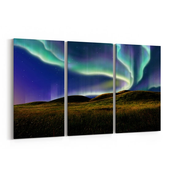 Northern Light Canvas Print Northern Light Canvas Wall Art Multiple Sizes Wrapped Canvas on Wooden Frame