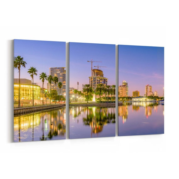 St. Petersburg Skyline Wall Art Canvas St. Petersburg Canvas Print Florida Multiple Sizes Wrapped Canvas on Wooden Frame