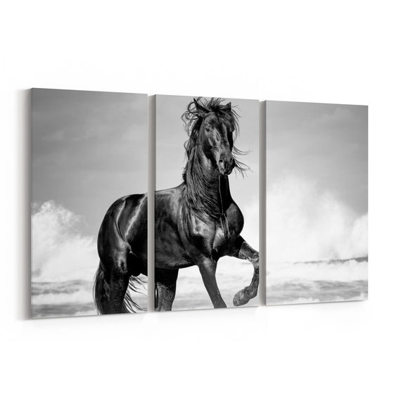 Black Horse Canvas Print Black Horse Wall Art Canvas Multiple Sizes Wrapped Canvas on Wooden Frame