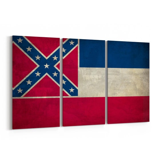 Mississippi State Flag Canvas Print Mississippi State Flag Wall Art Canvas Multiple Sizes Wrapped Canvas on Wooden Frame