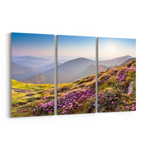 Flowers on Mountain Canvas Print Flowers on Mountain Wall Art Canvas Multiple Sizes Wrapped Canvas on Wooden Frame