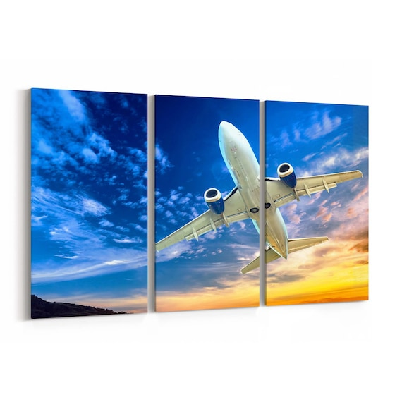 Airplane Wall Art Canvas Airplane Canvas Print Multiple Sizes Wrapped Canvas on Wooden Frame