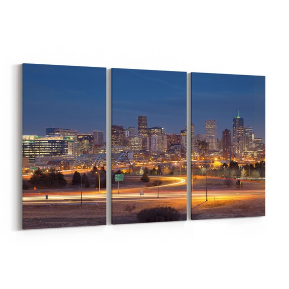 Denver Skyline Canvas Denver Canvas Wall Art Multiple Sizes Wrapped Canvas on Wooden Frame