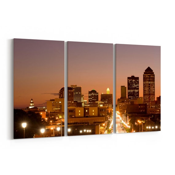 Des Moines Canvas Print Des Moines Wall Art Canvas Multiple Sizes Wrapped Canvas on Wooden Frame