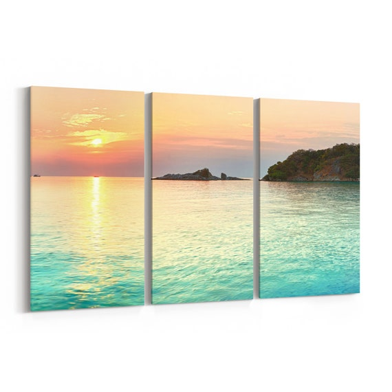 Tropical Sea Canvas Print Tropical Sea Wall Art Canvas Multiple Sizes Wrapped Canvas on Wooden Frame