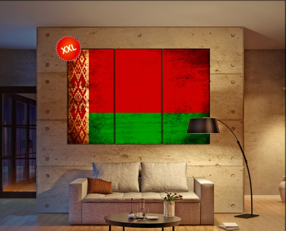 Belarus flag canvas wall art art print large  canvas wall art print Belarus country flag Wall Home office decor interior Office Decor