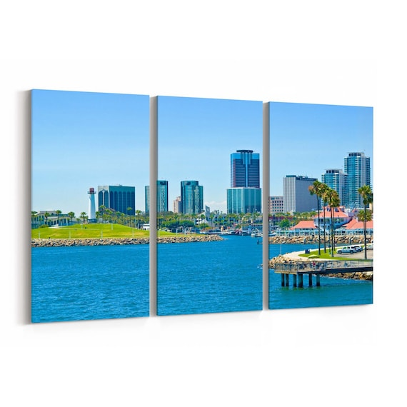 Long Beach Skyline Wall Art Canvas Long Beach Canvas Print Multiple Sizes Wrapped Canvas on Wooden Frame