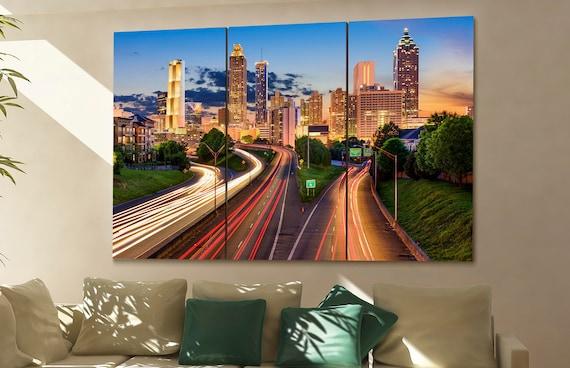 Atlanta cityscape Atlanta skyline Atlanta wall art Atlanta art | Etsy