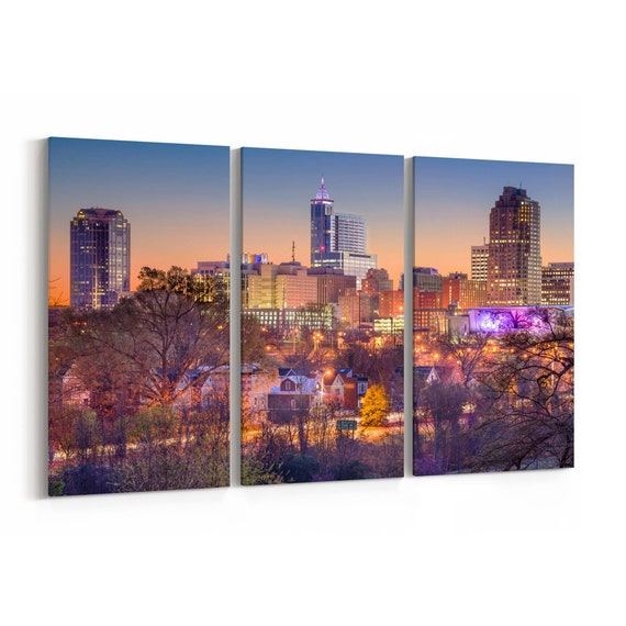 Raleigh Skyline Wall Art Raleigh Canvas Print Multiple Sizes Wrapped Canvas on Wooden Frame