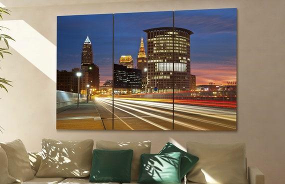 Cleveland cityscape Cleveland skyline Cleveland wall art Cleveland art Cleveland downtown