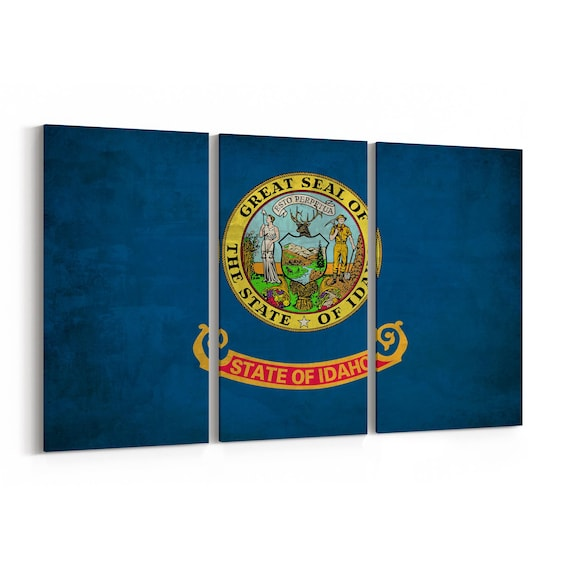 Idaho State Flag Canvas Print Idaho State Flag Wall Art Canvas Multiple Sizes Wrapped Canvas on Wooden Frame