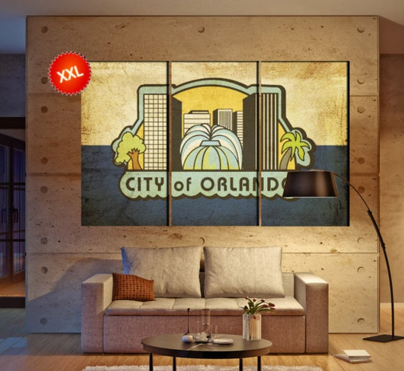 "LARGE 3 panels / boards wrapped stretched City Orlando, Florida ""The City Beautiful"" canvas wall art Giclee Art wall  art Repro"