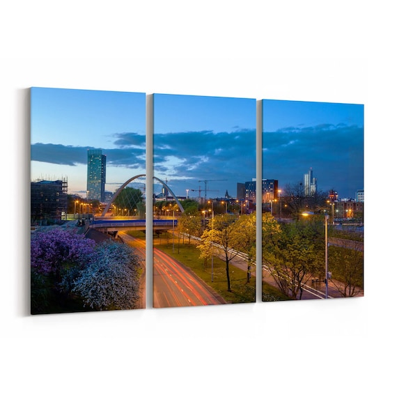 Manchester Skyline Wall Art Canvas Manchester Canvas Print Multiple Sizes Wrapped Canvas on Wooden Frame