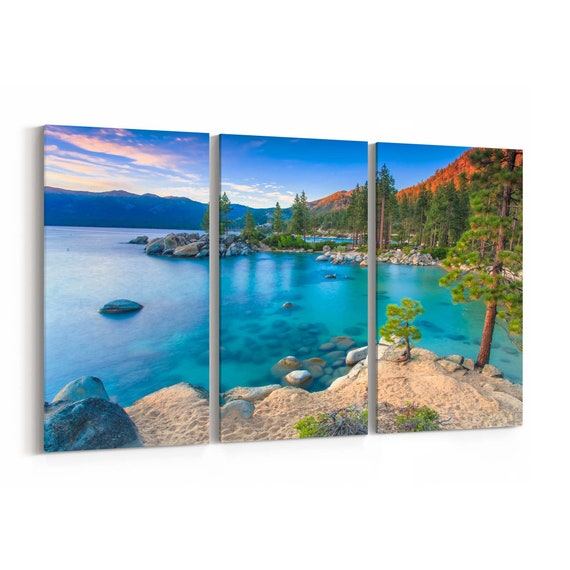 Lake Tahoe Canvas Print Lake Tahoe Wall Art Canvas Multiple Sizes Wrapped Canvas on Wooden Frame