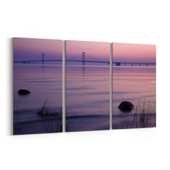 Mackinac Bridge Skyline Wall Art Mackinac Bridge Canvas Print Multiple Sizes Wrapped Canvas on Wooden Frame