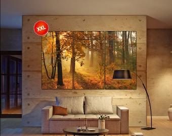 Autumn forest large canvas wall art  decor print Autumn forest  large  living room  Office Decor