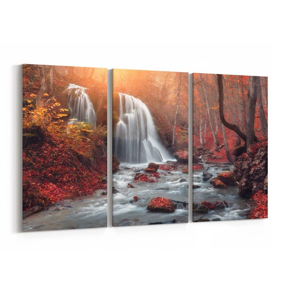Waterfall in Autumn Canvas Print Waterfall in Autumn Wall Art Canvas Multiple Sizes Wrapped Canvas on Wooden Frame