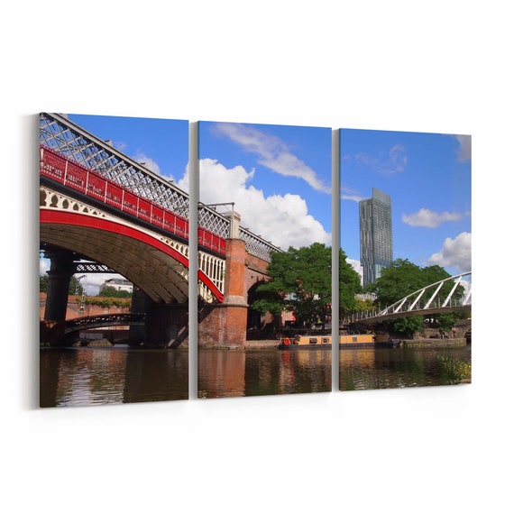 Manchester Canvas Print Manchester Wall Art Canvas Multiple Sizes Wrapped Canvas on Wooden Frame