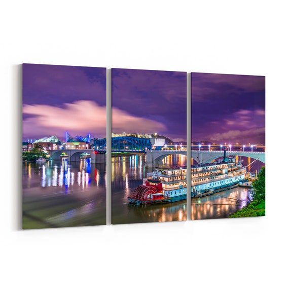 Chattanooga Skyline Wall Art Canvas Chattanooga Canvas Print Tennessee Multiple Sizes Wrapped Canvas on Wooden Frame