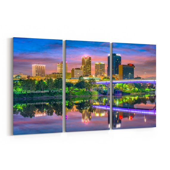 Little Rock Skyline Canvas Little Rock Canvas Print Arkansas Multiple Sizes Wrapped Canvas on Wooden Frame