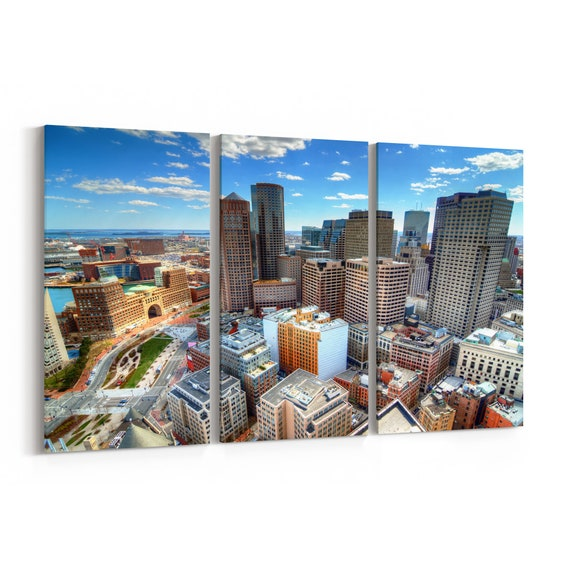 Boston Skyline Canvas Boston Canvas Art Massachusetts Multiple Sizes Wrapped Canvas on Wooden Frame