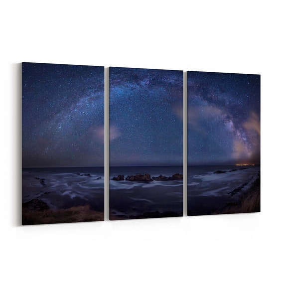 Milky Way over the sea Canvas Print Milky Way over the sea Wall Art Canvas Multiple Sizes Wrapped Canvas on Wooden Frame