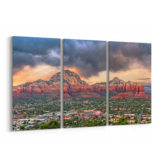 Sedona Skyline Wall Art Sedona Canvas Print Arizona Multiple Sizes Wrapped Canvas on Wooden Frame